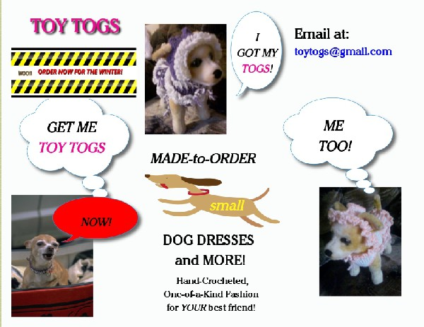 Toy Togs - Hand-Crocheted small dog Clothing